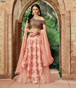 Peach  Net Party Wear  Lehenga With Peach Dupatta
