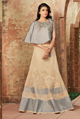 Cream Silk Party Wear  Lehenga With  Choli & Dupatta