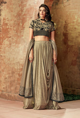 Beige Lycra Party Wear  Lehenga With Gold Dupatta