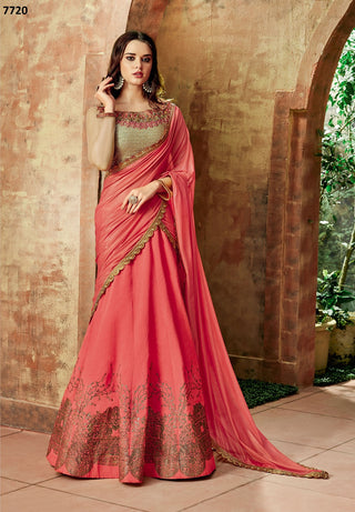 Tomato Red Silk Party Wear  Lehenga With Tomato Red Dupatta