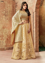 Beige Silk Party Wear  Lehenga With Beige Dupatta