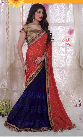 Saree Red,Georgette,Jacquard