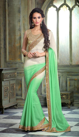 Designer party wear saree with heavy embroidery,Green , Beige,Smart Chiffon Shaded
