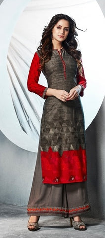 Brown Red Printed Rayon Long Kurti With Embroidered Palazzo