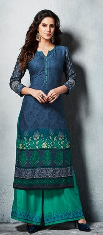 Peacock Blue Printed Rayon Long Kurti With Embroidered Cyan Palazzo