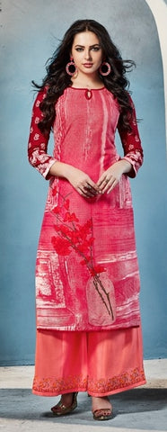 Pink Printed Rayon Long Kurti With Embroidered Peach Orange Palazzo