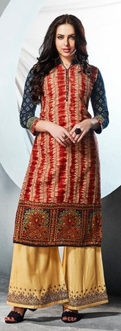 Red Embroidered Kurti With Yellow Embroidered Palazzo