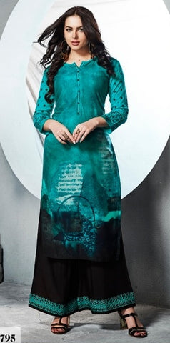 Cyan Blue Long Rayon Kurti With Embroidered Black Palazzo
