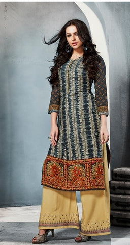 Multicolored Kurti With Yellow Embroidered Palazo