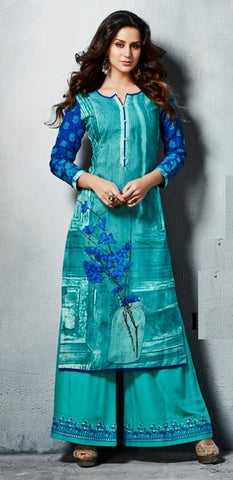 Light Blue Printed Kurti With Light Blue Embroidered Palazo