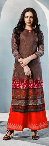 Brown Printed Rayon Kurti With Orange Red Embroidered Palazzo