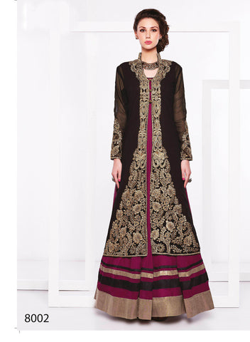 Designer Anarkali of Faux gerogette and shantoon of Black and Purple color with Party and wedding