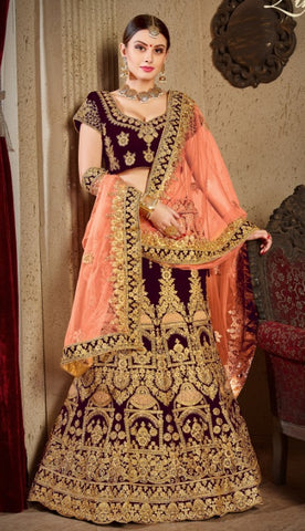 Purple Velvet Bridal Lehenga With Peach Dupatta