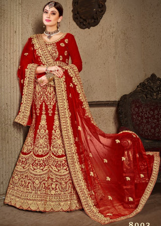 Red Velvet Bridal Lehenga With Red Dupatta