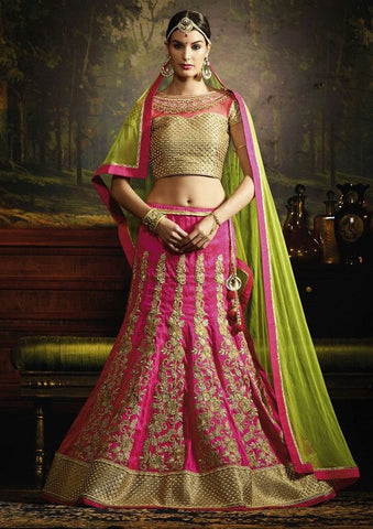 Pink,Silk,wedding wear designer lehenga