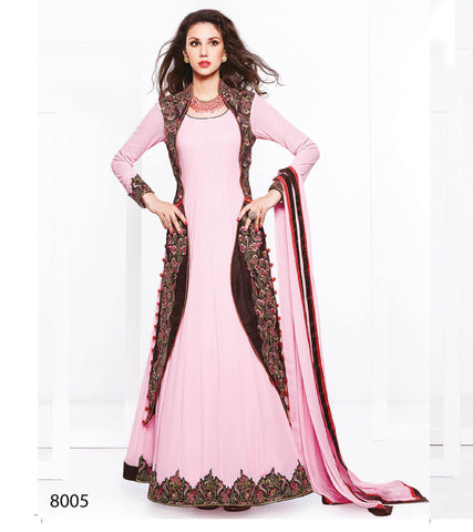 Designer Georgette Anarkali Suit with Russell's Net