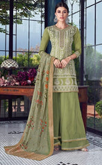 Green Silk Party Wear Suit With  Dupatta