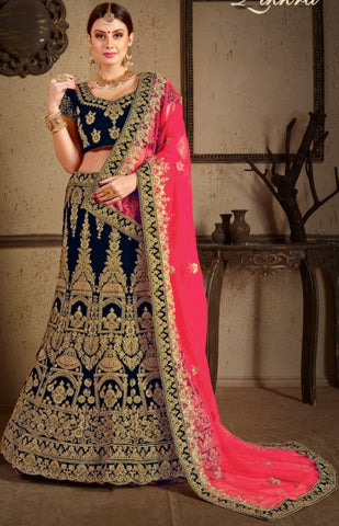 Blue Velvet Bridal Lehenga With Pink Dupatta