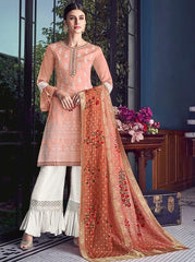 Peach Silk Party Wear Salwar Kameez With  Dupatta