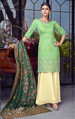 Green Silk Party Wear Salwar Suit With  Dupatta