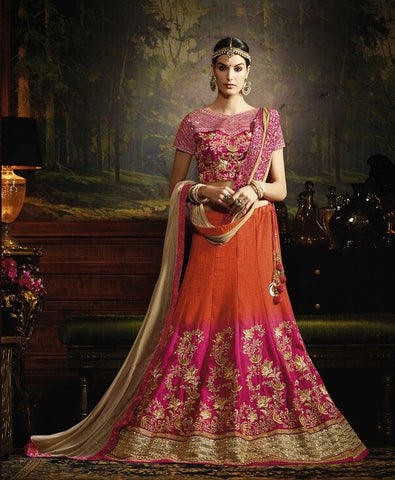 Orange , Pink,Silk,wedding wear designer lehenga