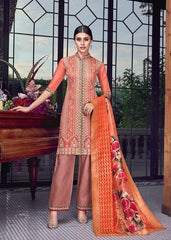 Orange Silk Party Wear Suit With  Dupatta