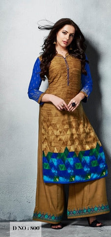 Dark Beige Blue Kurti With Embroidered Palazo