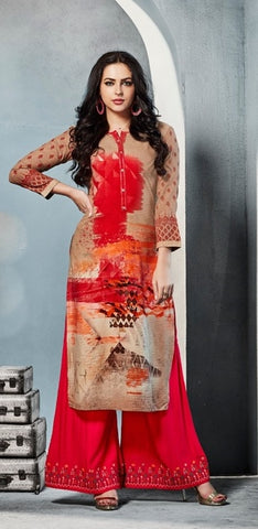 Multicolored Printed Kurti With Pink Embroidered Palazo