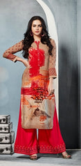Multicolored Printed Kurti With Pink Embroidered Palazzo