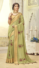 Olive Green Silk Party Wear Saree With Beige Blouse