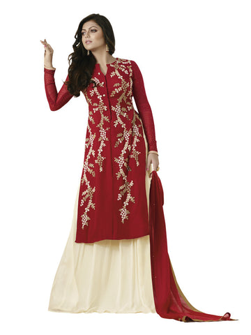 Red,Georgette,Anarkali designer long party wear suits