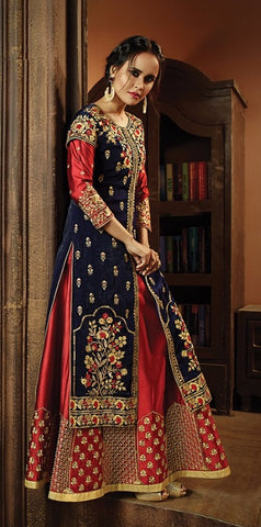 Red Blue Silk Embrodiered Anarkali In Jacket Style With Dupatta