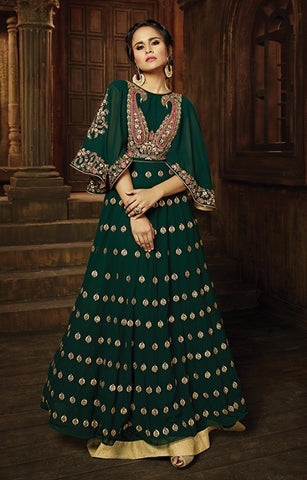 Backless Bell Sleeves Georgette Embroidered Anarkali Suit With Dupatta