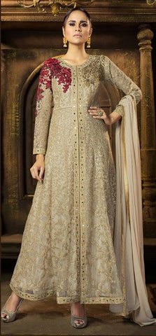 Beige Front Slit Handworked Anarkali Suit With Dupatta
