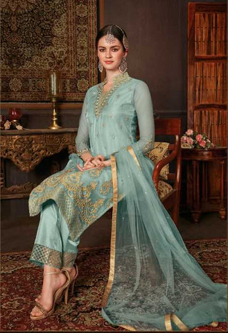 Blue Net Party Wear Salwar Kameez With  Dupatta