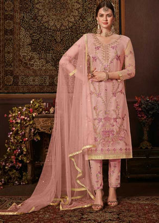 Pink Net Party Wear Suit With  Dupatta