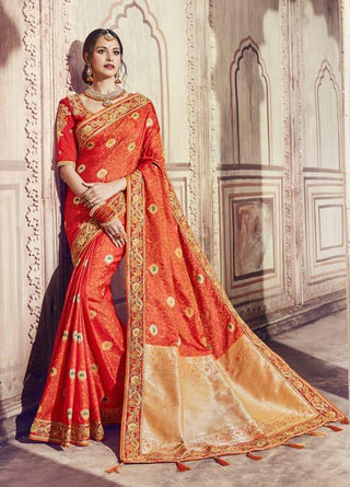 Orange Silk Party Wear Saree With Blouse
