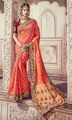 Peach Silk Party Wear Saree With Blouse