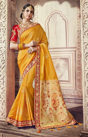 Yellow Silk Party Wear Saree With Blouse