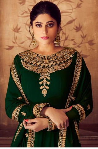 Green Real Georgette Party Wear Anarkali Suit With Green Dupatta