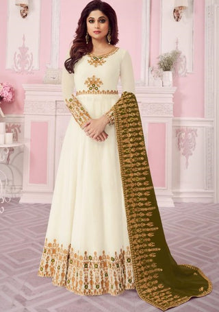 Off White Real Georgette Party Wear  Anarkali With Green Dupatta