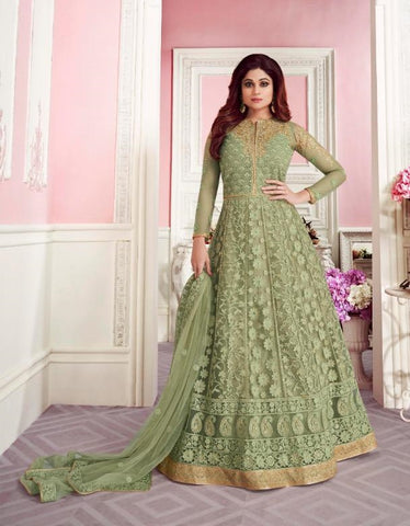 Green Butterfly Net Party Wear Suit With  Dupatta