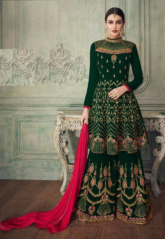 Green Georgette Party Wear  Salwar Kameez With  Dupatta