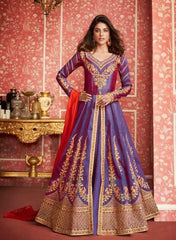 Blue Silk Party Wear Anarkali Dress With Orange Dupatta