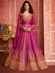 Pink Silk Party Wear Anarkali Suit With Pink Dupatta