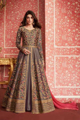 Grey Silk Party Wear Anarkali With Peach Dupatta
