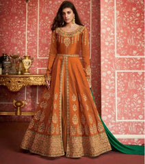 Orange Silk Party Wear Anarkali Suit With Green Dupatta