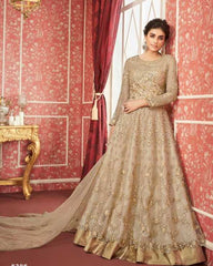 Beige Butterfly Net Party Wear Anarkali With Beige Dupatta