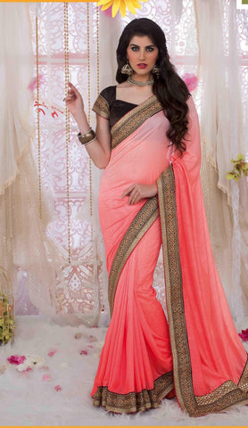 Saree Salmon,Georgette