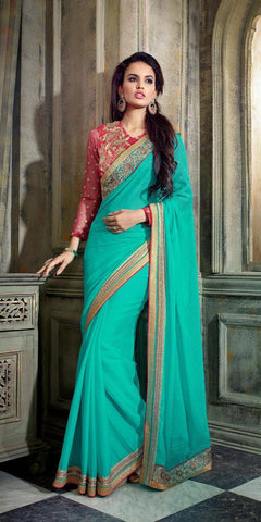 Designer party wear saree with heavy embroidery,Green,Smart Chiffon